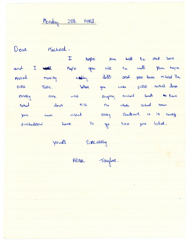 Alan Taylor's original letter