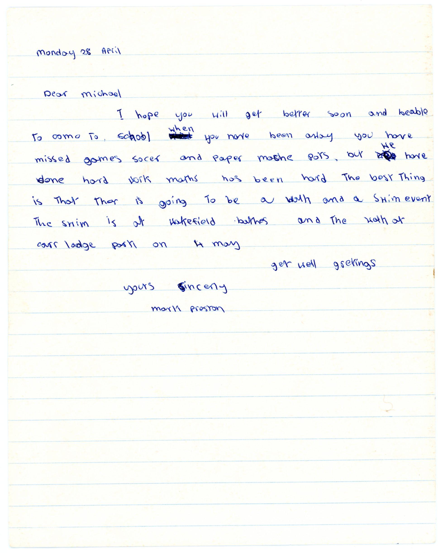 Mark Preston's original letter