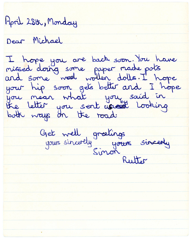 Simon Rutter's original letter